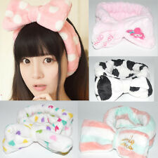 Elasticated Bowknot Fuzzy Hair Band Headwrap Beauty for Wash Face in Girls Cute