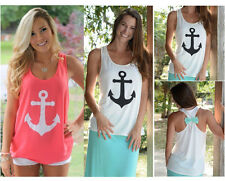 2015 New Fashion Womens Summer Bow Vest Top Blouse Casual Tank Tops T-Shirt