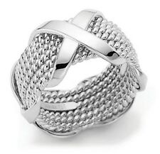 X Factor Sterling .925 Silver Unisex Network Ring Band, 6 Sizes, NEW