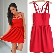 Women Sexy Strap Open Back Empire Bubble Frill A-Line Skater Party Club Dress B