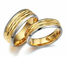 6mm 8mm Stainless Steel Ring Gold Plated Silver Edges Wedding Band Men's Jewelry