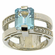 925 Sterling Silver 1.85 ct Natural Sky Blue Topaz & White CZ Ring