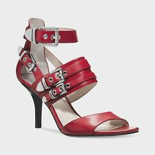 NEW MSRP $195 MICHAEL KORS CASSIE Strappy Buckle Mid Heel Sandals, SCARLET (Red)