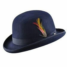 Quality NAVY 100% Wool Bowler Hat with Removable Feather Satin Lined in 4sizes