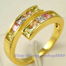 Size 7,8,9 RING,REAL GORGEOUS 18K YELLOW GOLD GP 10 COLOR GEMSTONE SOLID FILL