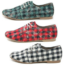 New Checked Simple Casual Canvas Lace-up Womens Shoes Multi Colored Nova
