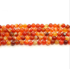 Orange Red Carnelian Natural Agate Gemstone Round Beads 15.5''