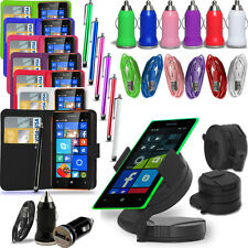 Microsoft Lumia 640 XL - Pack of 5 - Wallet Case +Charger +Cable +Holder +Pen/B