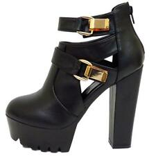 Ladies Black Boots Women Chunky Platform Gold Buckle Dolcis High Heels Shoes 3-8