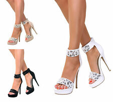Ladies Peep Toe Stiletto High Heel Shoes Sandals Ankle Strap Zip UK Size 3-8