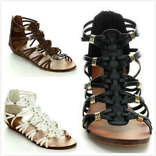 Brand New Women's Fashion Back Zip Strappy Gladiator Flat Sandals Shoes