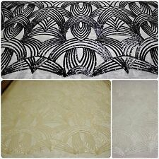 Gorgeous Designer Lace Sequin Fabric with Geometric Design on Polyester Mesh