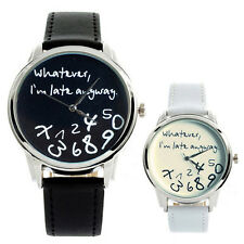 Whatever I'm Late Anyway Funny Watches Fashion Leather Strap Quartz Wristwatch