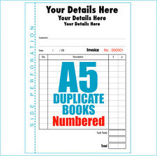 Personalised Invoice Books Pads A5 Numbered Duplicate multiple quantity listing