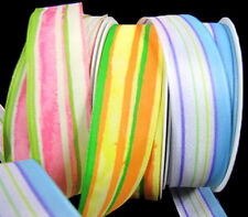 "9 Yds Morex Funny Colorful Striped Wired Ribbon 1""W"
