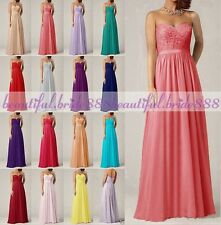 Long Chiffon Formal Evening Party BallGown Prom Lace Bridesmaid Dress Size 6 -16