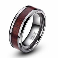 Red Wood Comfort Fit Silver Tungsten Carbide Ring Wedding Band Men's Jewelry