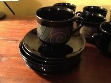ARCOROC France Tampico Glass (2) coffee cup and saucer sets in exc. cond.
