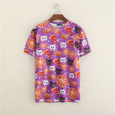 HOT! New 3D Fashion Men's womens Personality Cat Pizza Tee Round Top T-Shirt