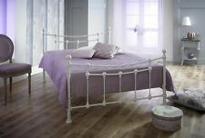 Chester Double 4ft & 4ft6 Metal Bed in TEXTURED CREAM + Mattress Options