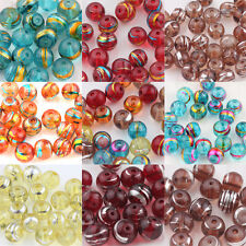 New 20/50PCS Mixed Round Chic Spun Silver Gold Glass Loose Spacers Beads 6mm 8mm