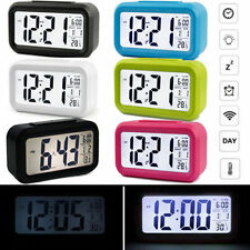 LED Digital Light Control Backlight Time Calendar Thermometer Snooze Alarm Clock