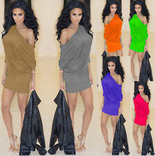 Sexy Women One Shoulder Batwing Ruch Pleat Slim Bodycon Club Party Casual Dress