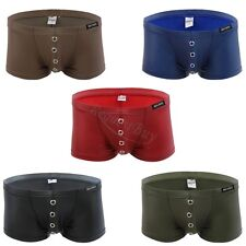 New Sexy Mens Faux Leather Boxer Briefs Shorts /Holes Trunks Underwear Swimwear