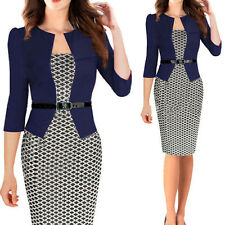 Women 3/4 Sleeve Bodycon Cocktail Party Evening Pencil OL Career Office Dress