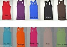 Cotton Women's T Shirt Vest O Neck Sleeveless Tank Top Ladies Ribbed Stretchable