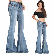New Womens 60s 70s Blue Faded Bell Bottoms Hippy Denim Flares Wide Flared Jeans