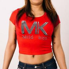 New Juniours Red Crop Top T-Shirt With Rhinestones Mild Kiss Casual Wear S,M,L