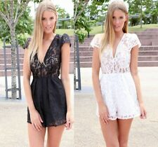 2015 NEW Sexy Lady Slim Solid Lace Empire Shorts Beach Elastic Romper Jumpsuit