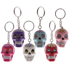 Day of the Dead Skull Keyring Dia De Los Muertos Single or Pack 6