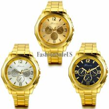 Men's Luxury Decoration Dial Quartz Wrist Watch Gold Tone Stainless Steel Band