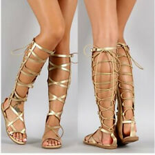 New Women Gold Strappy Gladiator Knee High Tall Sandals