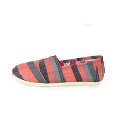 Striped Women Men's Slip-on Casual Flat Canvas Comfy Loafer Espadrilles Shoes