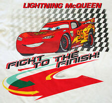 Disney Store CARS 2 LIGHTNING MCQUEEN RACE CAR FIGHT TO THE FINISH T TEE SHIRT