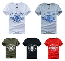 New Men's Summer Casual T-Shirt Short Sleeve T-shirt Cotton Blend Mens T-Shirt Q