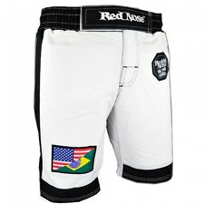 Red Nose Pitbull Jiu-Jitsu MMA Shorts MuayThai KickBoxing Grappling Shorts-WHITE