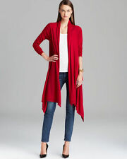 NWT DKNY DONNA KARAN SCARLET RED COZY CASHMERE WRAP LONG CARDIGAN SWEATER P/S