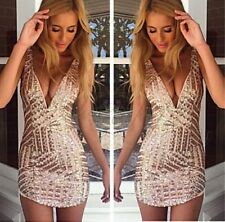 Womens Sequin Sleeveless Cocktail Party Evening V-neck Prom Ball Gown Mini Dress