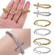 Bracciale Braccialetto Donna Moda Stretch LOVE Cross Infinito Strass Bracelet