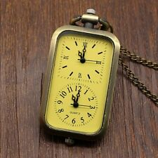 Vintage Rectangle Dual Glass Ball Shape Unisex Quartz Pocket Watch Xmas Gifts