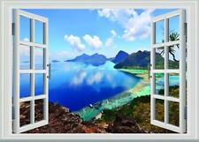 Wall View Window Decal Decor Vinyl Coastline Home Sticker 3D Removable Mural