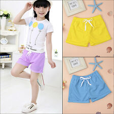 Baby Kids Girls Boys Soft Cotton Shorts Casual Summer Beach Pants Elastic 2-7Y