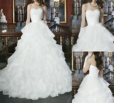 Sweetheart Bll Gown Cascad Ruffle White Organza Wedding Dresses Size 6 8 10 12++