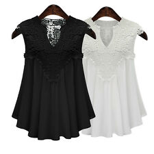 Women Top T-Shirt Blouse Lace V-Neck Chiffon Loose Sleeveless Casual Cocktail