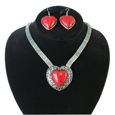 Necklace Set Romantic Heart-Shaped Gems Pendant Chunky Necklace And Earring