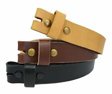 LS-TAN Casual Natural Full grain Leather Belt Strap with Snap Buttons W 1.33""